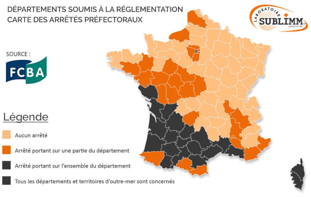 Carte de France termites